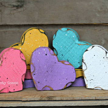 Valentine's Day Decor, Conversation Hearts, Wood Hearts SET OF 3, Primtive Valentine, Rustic Valentine, Rustic Heart, seasonal decor