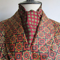 Vintage 1960s Silk Mens Ascot Tom Campbell LTD Burgundy Floral Green Medallion 60s Gentlemans Necktie Made in England