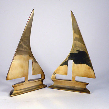 SALE-15% OFF vintage brass bookends. vintage bookends. brass bookends. French bookends. boat bookends. brass sailing boat bookends. brass de