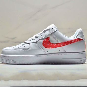 LOUIS VUITTON LV x Nike Air Force 1 White Red Sport Shoes Sneaker Red Hook