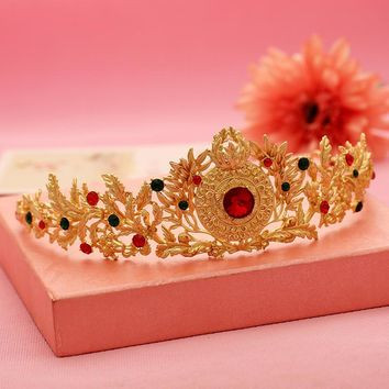 New Arrival Princess Gold hairpin wedding bridal flower hair tiaras and crowns Headpiece Colorful Crystal Hair Jewelry