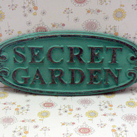 Secret Garden Gate Wall Plaque Sign Cast Iron Shabby Style Chic Medium Turquoise Aqua Blue Oval Oblong Ornate Scroll Accented Wall Door Sign