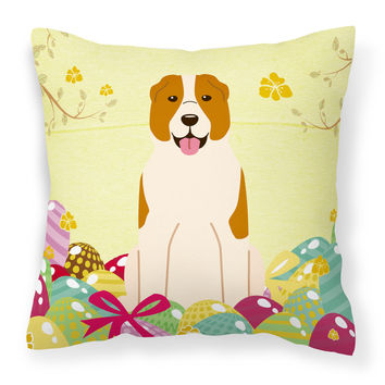 Easter Eggs Central Asian Shepherd Dog Fabric Decorative Pillow BB6049PW1414