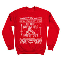 You Filthy Hobbitses Merry Christmas Funny Lord Of The Rings Humor Hobbits Elvs Crewneck Sweatshirt DT0167