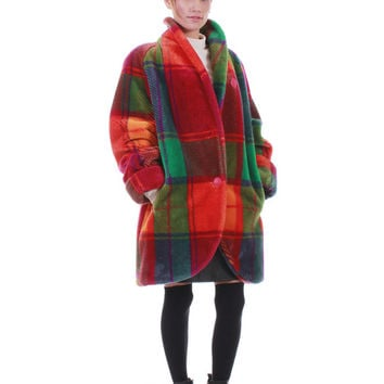 80s Vintage Plaid Faux Fur Coat Colorful Plush Oversized Shawl Collar Retro Club Kid Warm Winter Jacket Made in the USA Unisex Size XL 1X