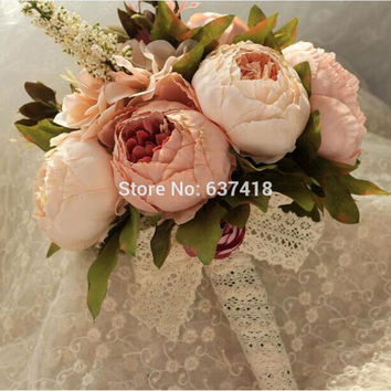 Bouquets de Casamento Artificial New Bridal Bouquets Bridesmaid Bouquet Wedding Bouquet with Flowers Vintage Lace Buque de Noiva