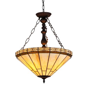 """BELLE Tiffany-style 2 Light Mission Inverted Ceiling Pendant Fixture 18"""" Shade"""