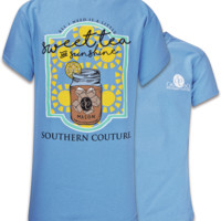 Southern Couture Sweet Tea & Sunshine Mason Jar Girlie Bright T Shirt