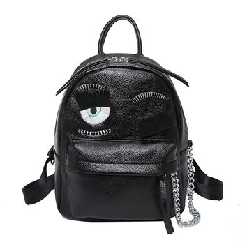 Fashion Blink Eyes Women Backpacks Exquisite High Quality PU Leather