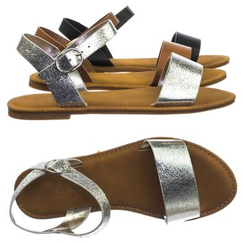 Coastline73 Vintage Comfortable Flat Open Toe Sandal w Adjustable Ankle Strap