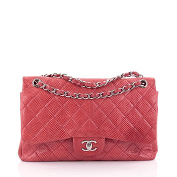 Chanel Pre-Owned: Classic Double Flap Bag Quilted Lizard Jumbo | Bluefly.Com