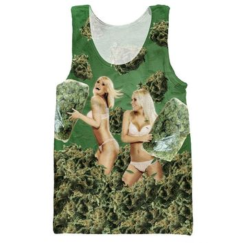 3d Printed Tank Tops Men Fashion Clothes Ladies Takes Weed Graphic Jersey Sleeveless