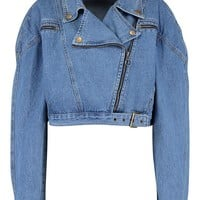 Crop Biker Zip Denim Jacket | Boohoo