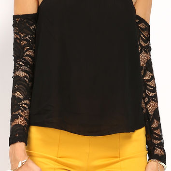 Off-The-Shoulder Lace Paneled Top