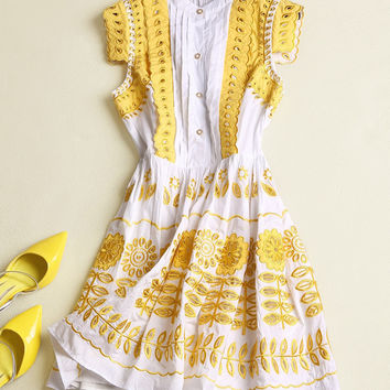 High Quality New Fashion 2016 Summer Runway Dress  Short Empire O-neck Knee-length Hollow Out  Casual 100% Cotton Dresses