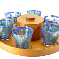 Mid Century Teak Tray and Set of Six Glasses