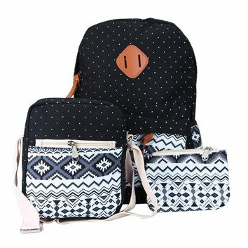 Ethnic Women Backpack for Teenagers Girls Cute School Bag With Purse Ladies 3 pcs/set Vintage Canvas Printing Backpacks