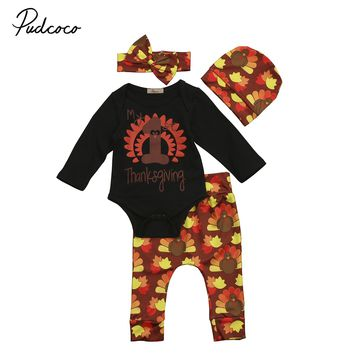 My 1st Thanksgiving Newborn Kids Thanksgiving Baby Boy Girl Clothes Hat Romper Bodysuit Outfit 4pcs Baby Clothing  Set