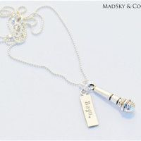 Zayn Malik Inspired DJ microphone Necklace - One Direction Hand Stamped Tag Adorned with Microphone Charm - Gift For Her Teens Directioners
