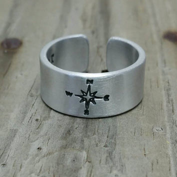 COMPASS Stamped RING - not all who wander are lost -Adjustable Ring - Trending Jewelry - quote ring