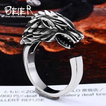 Beier 316L Stainless Steel viking Game Thrones Ice Wolf House Stark Of Winterfell  Animal opend Ring Fashion Jewelry LLBR8-477R