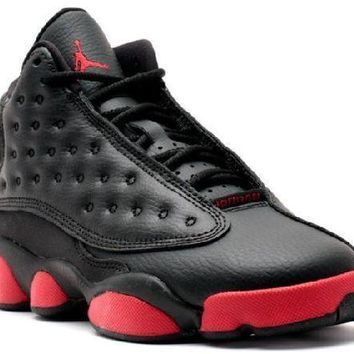 PEAPN Ready Stock Nike Air Jordan 13 Retro Bg(gs) Dirty Bred Black Gym Red Black Basketball Sport Shoes