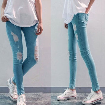 HOT ! 2014 Women's fashion denim women's jeans plus size skinny jeans woman hole stretch Slim pencil pants