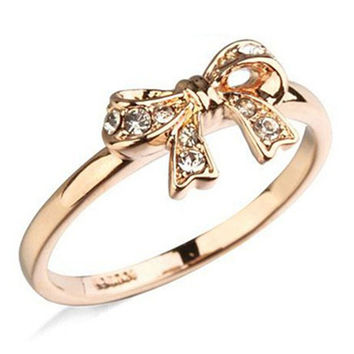 18K Champagne Gold Plated AAA+ Cubic Zircon Diamond Bow Rings For Women Silver Plated Party Wedding Engagement Rings Jewelry