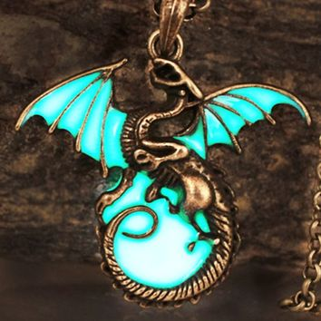 Atomic Bronze Glow in the Dark Night Dragon Necklace
