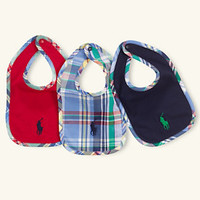 Ralph Lauren Childrenswear Bibs 3-Pack 					 					 				 			 | Dillard's Mobile