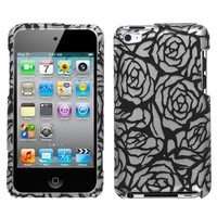 Design Hard Protector Skin (2D Silver) Cover Cell Phone Case for Apple iPod Touch 4 8GB 32GB 64GB - Splash Rose Silver/Black