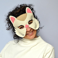ADULT White Cat Mask  Animal Mask for Carnival, Halloween, Dress up Costume Party Accessory, Men, Women Mask, Gift for Him, for Her