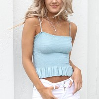 Breeze Through Teal Smocked Cami