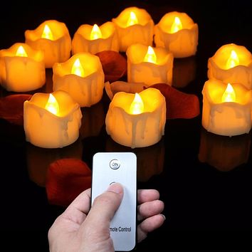 Remote control tea lights 12 pieces,yellow flickering battery led candles with remote,a set of decorative candles