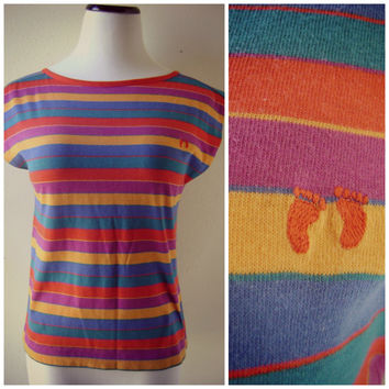 80s striped HANG TEN blouse vintage multi color beach TOP hippie boho 1980s capped sleeves s/m small medium low cut back retro summer shirt