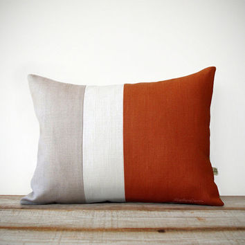 Rust & Cream Pillow Cover - Colorblock - Modern Home Decor by JillianReneDecor | Minimal | Linen | Color Block | Fall | Burnt Orange