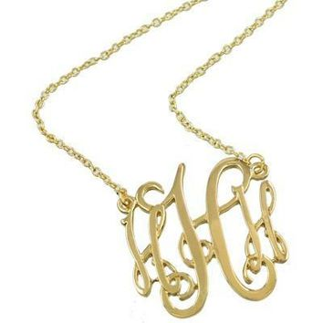 *Monogram Necklace ~H~ Goldtone Finish