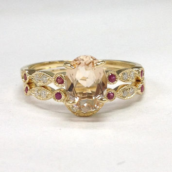 Diamond Wedding Ring Sets!Morganite Engagement Ring 14K Yellow Gold,6x8mm Oval Cut Morganite,Art Deco Antique,Ruby Stackable Matching Band