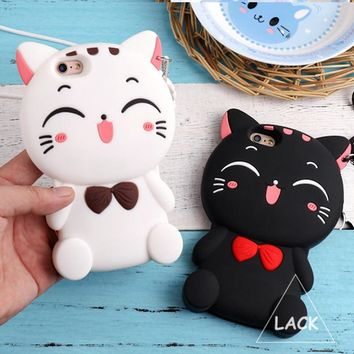 Cute Silicon 3D Cat Bow Case For iphone 5S Case For iphone 5 SE 6 6S Plus Cartoon Animal Lovely Rubber Phone Cases Back Cover