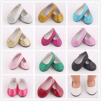 13 Color Doll Shoes Fits 18'' American Girl Doll Clothes  Glitter Shoes With Doll