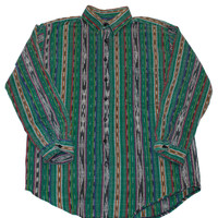 Vintage Green Southwestern Style Button Up Shirt Mens Size Small