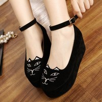 Womens Round Toe Cat Fac...