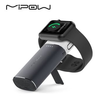 MIPOW MFi Certified Portable Magnetic Charging Dock Holder Stand Charger for Apple Watch Builtin USB Cable iPhone 7/8 Power Bank