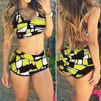 Sexy Women Multicolor Bikini Set Sports Boxer Swimwear (S-XL) = 1955903428
