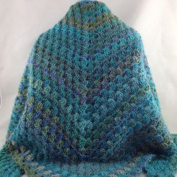 Blues Shawl - Wrap - Crochet Shawl - Scarf - Blue - Aqua - For Her - For Mom