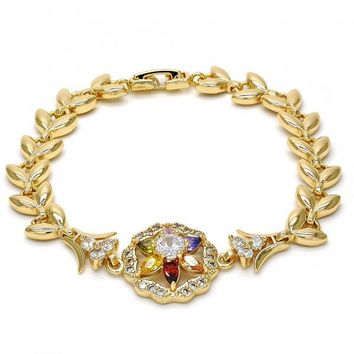 Gold Layered Fancy Bracelet, Flower and Leaf Design, with Cubic Zirconia, Gold Tone