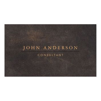 Elegant Brown Leather Masculine Business Card