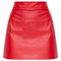 Red Faux Leather A Line Mini Skirt