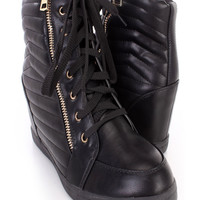 Black Lace Up Side Zipper Sneaker Wedges Faux Leather