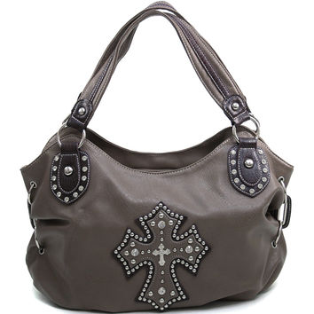 Women's Cross Accented Hobo Bag w/ Rhinestones, Studs, & Croco Trim - Taupe Color: Taupe